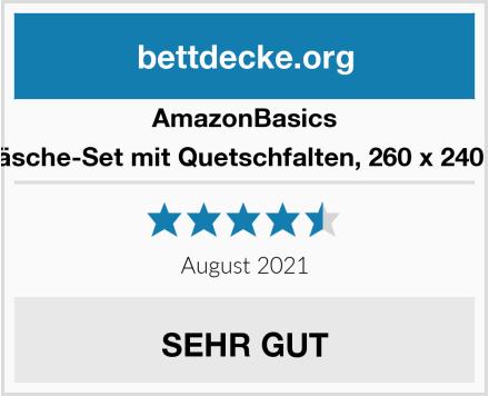 AmazonBasics Pinzon - Bettwäsche-Set mit Quetschfalten, 260 x 240 cm - Blassrosa Test