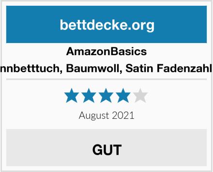 AmazonBasics Spannbetttuch, Baumwoll, Satin Fadenzahl 400 Test