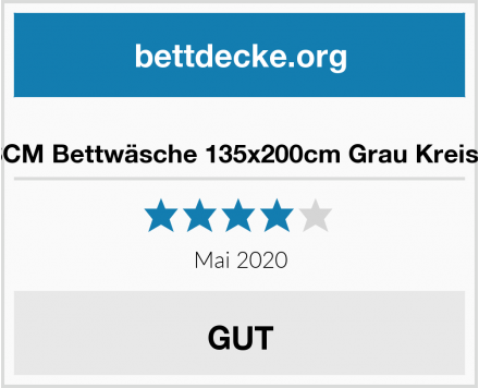 SCM Bettwäsche 135x200cm Grau Kreise Test