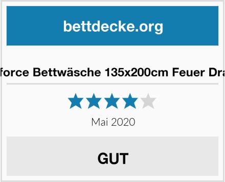 Renforce Bettwäsche 135x200cm Feuer Drache Test