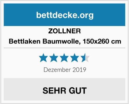 ZOLLNER Bettlaken Baumwolle, 150x260 cm Test