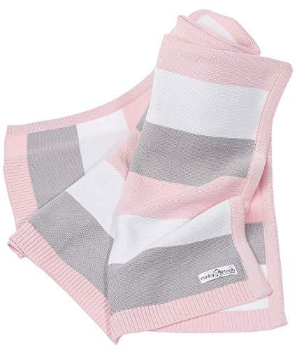 Babydecke aus 100% Bio Baumwolle in rosa