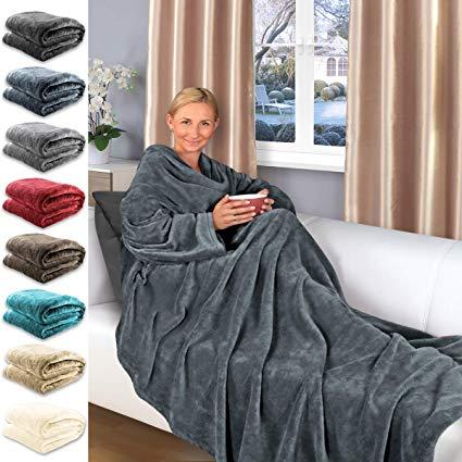 Gräfenstayn® TV-Decke mit Ärmeln und Tasche
