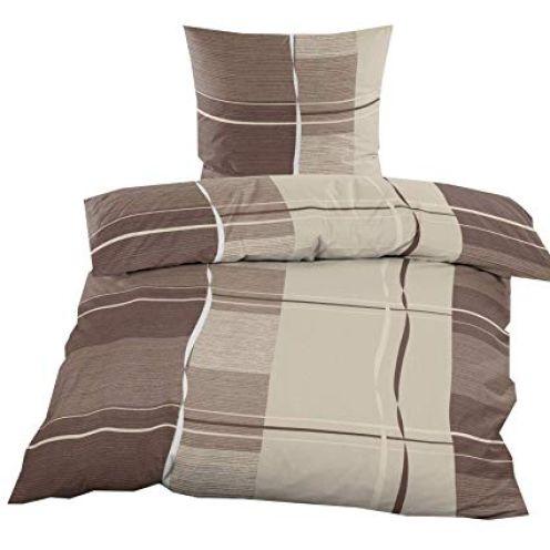 Casa Colori Biber Bettwäsche mit Reißverschluss Braun Beige