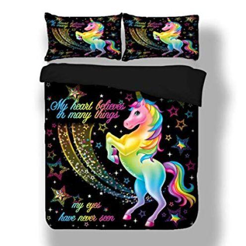 Sticker superb Elegant Bunt Einhorn Bettwäsche Set