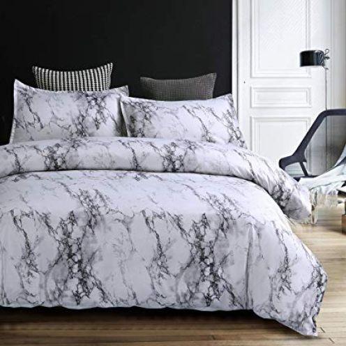 Stillshine Bettwäsche Bettbezug Set 220x240cm Weiß Grau Marmor