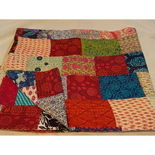 Tribal asiatischen Textilien Multi Color Block Print Patchwork Queen Size Kantha Steppdecke